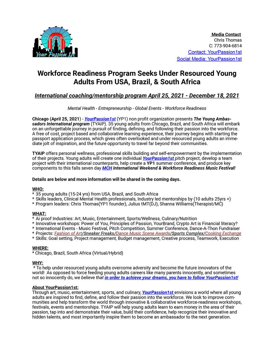 2021 Young Ambassador Program Media Release